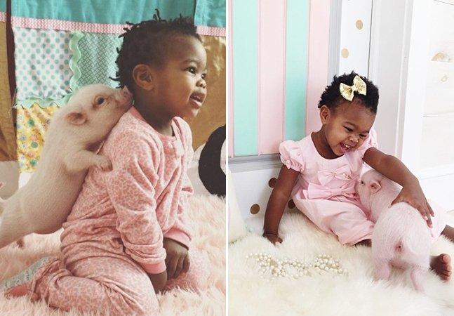 A adorável amizade de uma garotinha e sua porca de estimação