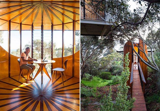Arquiteto cria estúdio estiloso em cima de uma árvore e com vista para o mar