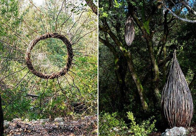Artista passa um ano na floresta criando belas esculturas com o que encontra na natureza