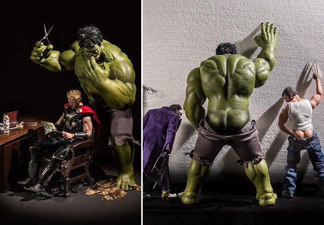 Fotógrafo imagina a vida secreta de super-heróis famosos em série divertida