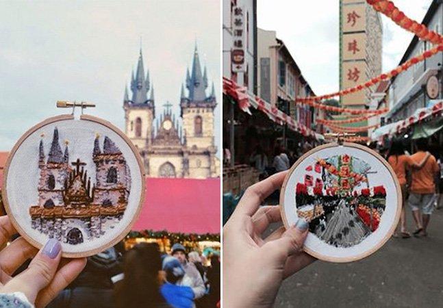 Artista cria réplicas em tricô dos lugares pelas quais passa nas suas viagens