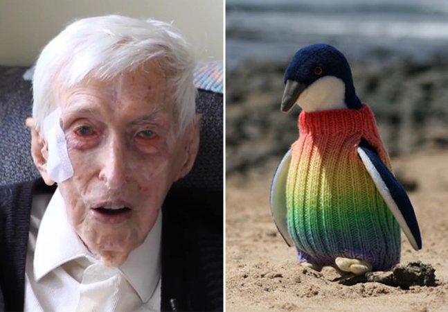 A história do senhor de 109 anos que tricotou casaquinhos de lã para salvar pinguins na Austrália