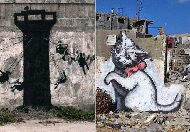 Banksy ataca no conflito da faixa de Gaza usando tinta e muita crítica