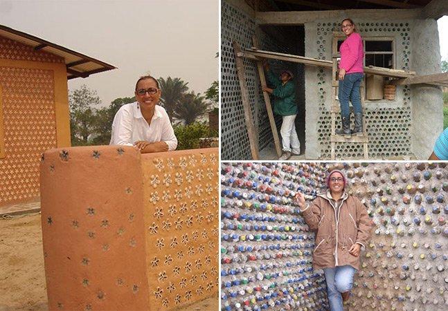 Mulher cria casas ecológicas e de baixo custo feitas de garrafas PET para pessoas carentes