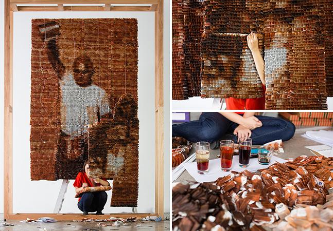 Artista cria impressionante obra de arte com 20 mil sachês de chá