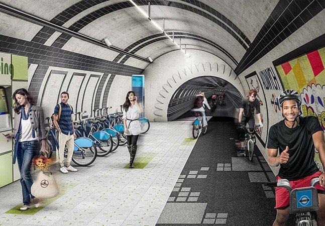 Designers querem transformar linhas de metrô abandonadas de Londres em ciclovias subterrâneas