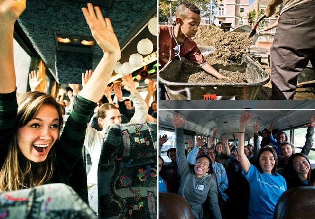 """O ônibus """"do bem"""" que leva voluntários para fazer boas ações surpresa"""