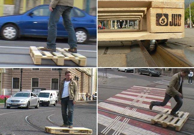 Artista transforma pallet em skate para circular em linhas de bonde