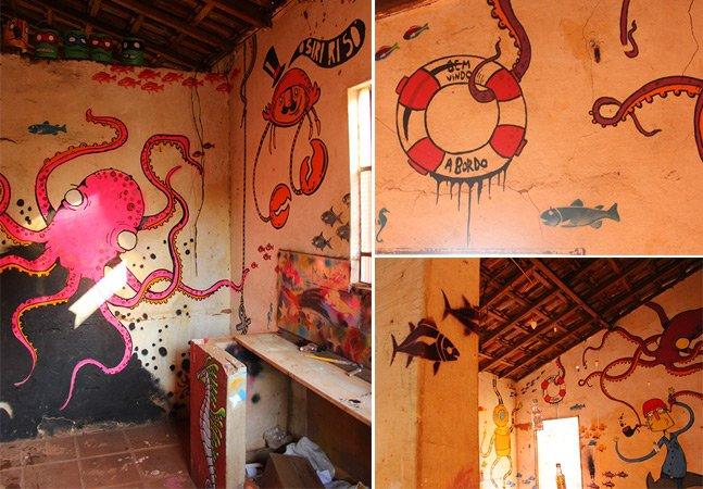 Artista ocupa casa abandonada e cria seu próprio fundo do mar