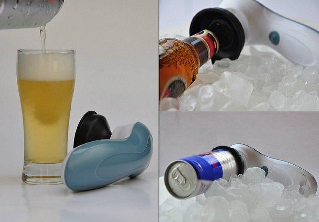 Gadget brasileiro movido a pilhas deixa sua cerveja gelada em 2 minutos