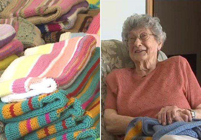 A senhora de 87 anos que passou os últimos 9 tricotando casacos para pessoas necessitadas