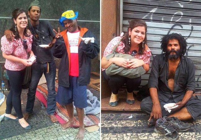 Jovem troca balada por comemoração de aniversário com moradores de rua