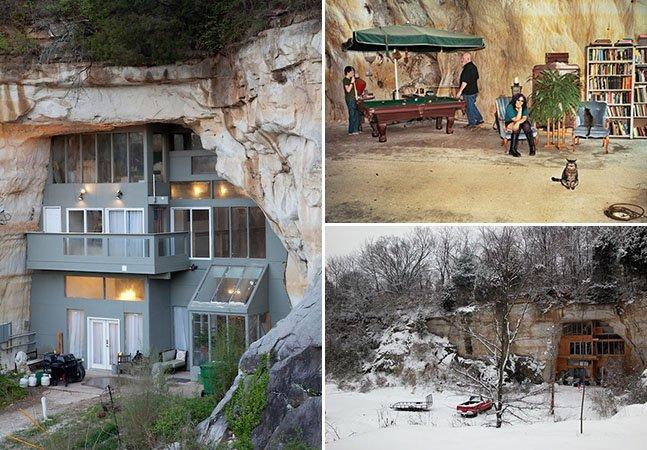 A casa moderna e sustentável que foi construída dentro de uma caverna