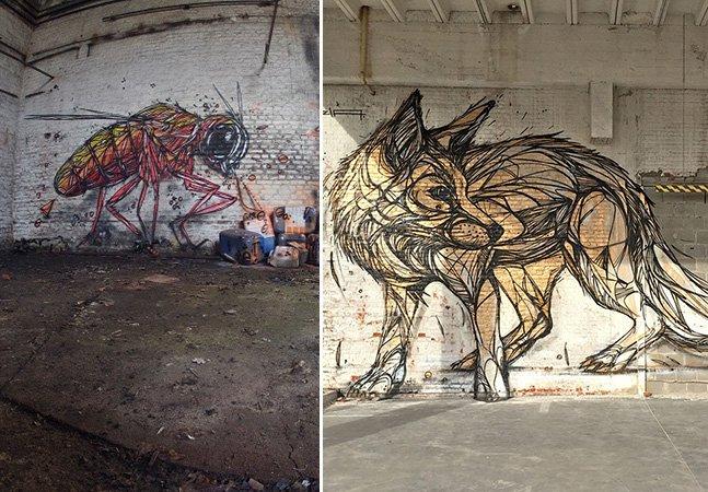 Street art inovadora leva animais geométricos para cenários abandonados