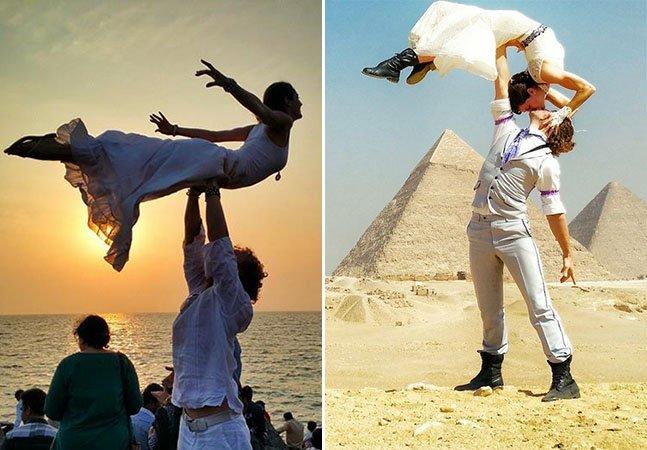 Casal de acrobatas corre o mundo e se casa em 38 países diferentes