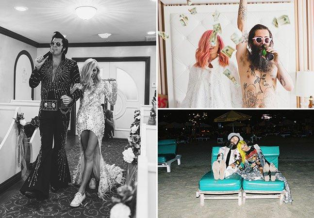 Casal viaja até Las Vegas para casar e registra a aventura em série de fotos divertida