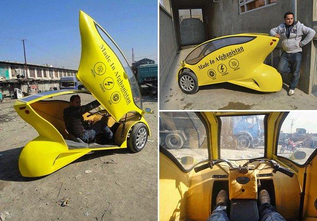 Jovem afegão constrói carro movido a energia solar com somente 2 mil dólares