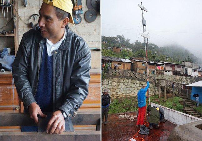 Trabalhador mexicano usa sucata para construir antena telefônica que dá acesso à internet a uma pequena vila