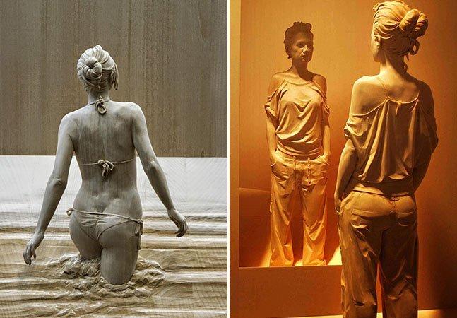 Artista dá nova vida à madeira criando impressionantes e realistas esculturas humanas