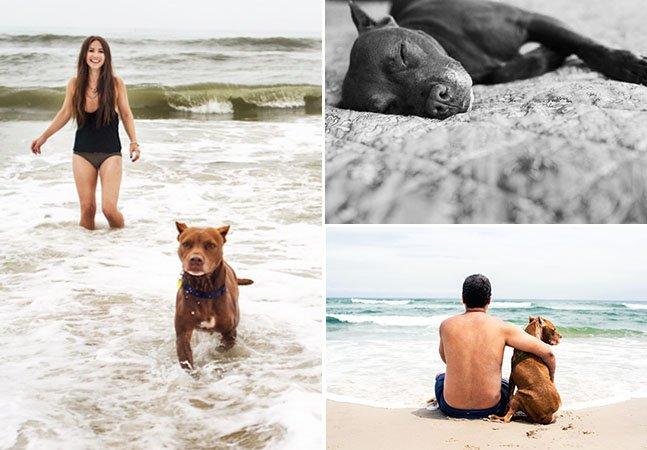 Casal passa férias e cria ensaio tocante para se despedir de seu pitbull de 11 anos