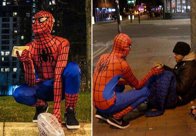O homem-aranha anônimo que distribui comida por moradores de rua