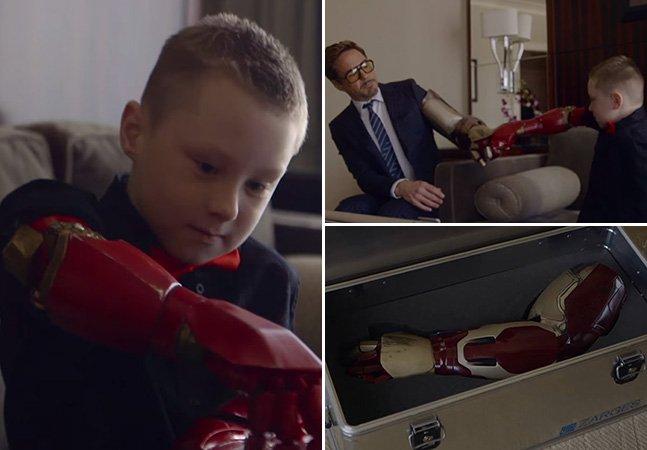 Menino de 7 anos ganha prótese inspirada no Homem de Ferro oferecida diretamente por Tony Stark