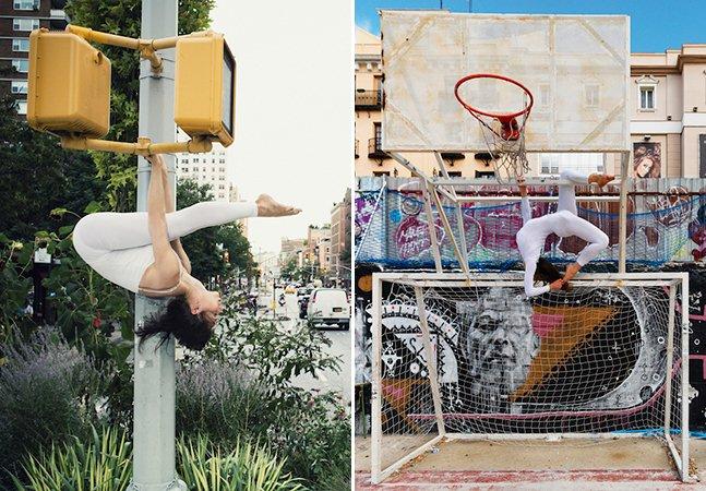 Fotógrafa registra a leveza da Yoga em meio ao caos da cidade