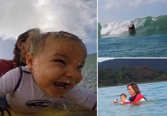 Vídeo mostra pai levando seu bebê de 9 meses para surfar e faz sucesso na web