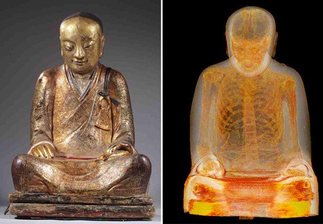 Há um corpo mumificado de um monge dentro desta estátua de mil anos