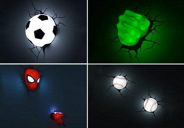 """Luminárias que parecem estar """"saindo"""" da parede prometem tornar a decoração de sua casa mais divertida"""