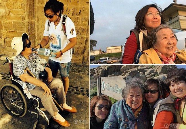 Filha leva mãe idosa na cadeira de rodas para conhecer o mundo e combater a depressão