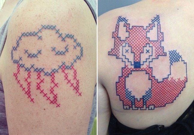 Tatuadora francesa transforma ponto cruz em arte na pele
