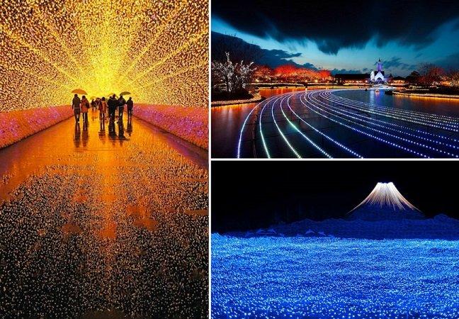 Jardim Botânico de ilha no Japão ganha tom mágico com milhões de luzes LED