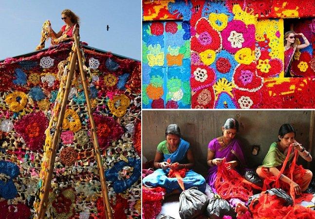Artista cria cobertura de crochê colorida para abrigo de pessoas carentes na Índia