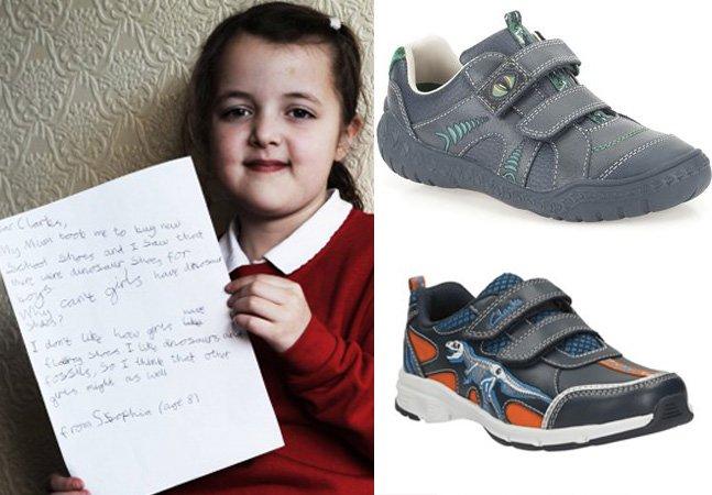 """Garota de 8 anos dá lição a marca de sapatos que criou tênis """"só para meninos"""""""