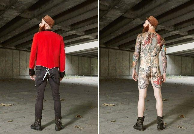 Ensaio fotográfico mostra a diferença de tatuados com e sem roupa