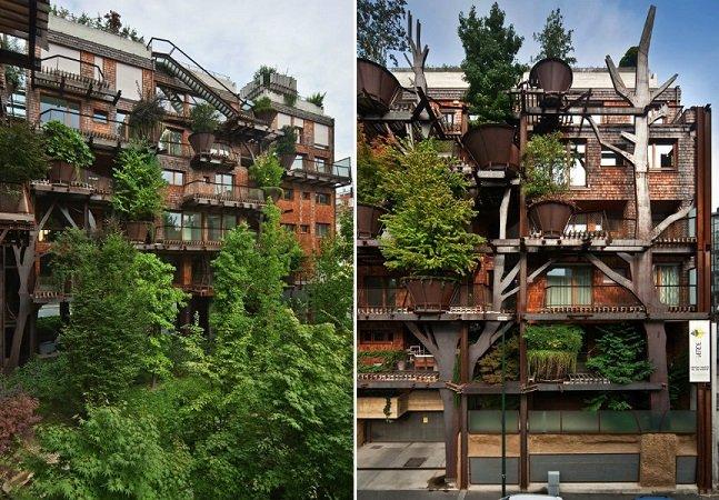 Casa na árvore urbana protege moradores da poluição da cidade