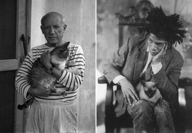 Série de fotos mostra artistas e seus companheiros felinos