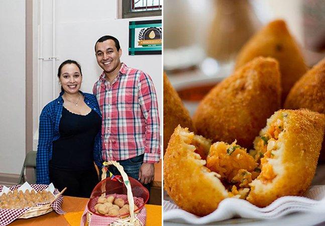 Casal de brasileiros faz sucesso vendendo coxinha e outros salgados do Brasil em Nova York