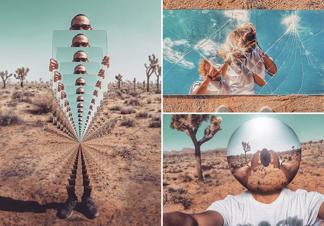 Viajante usa criatividade para clicar fotos surreais no meio do deserto