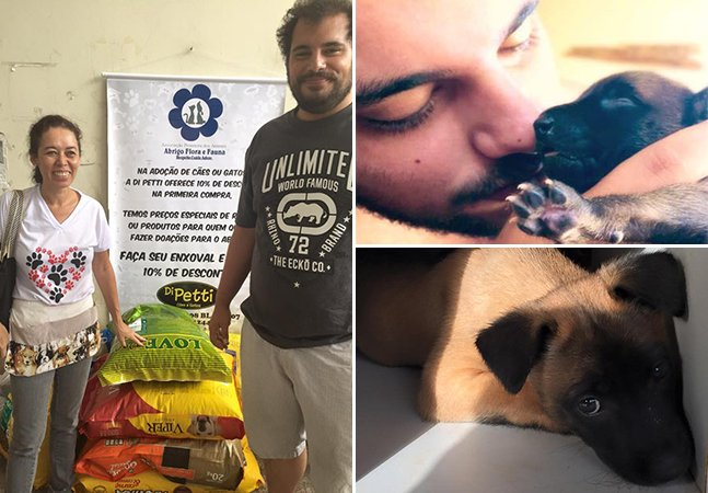 Casal doa filhotes de seus cães em troca de ração para ajudar abrigo de animais