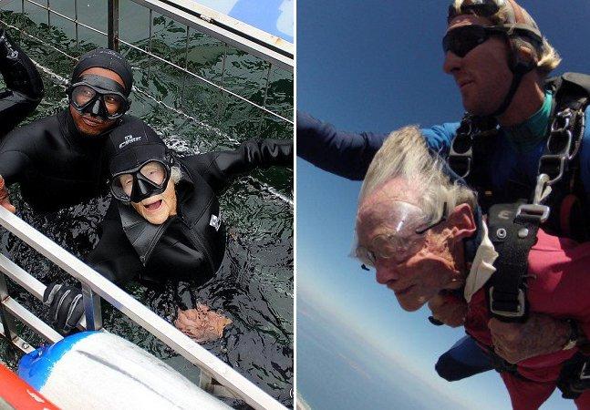 A sul-africana de 100 anos que salta de paraquedas e mergulha com tubarões