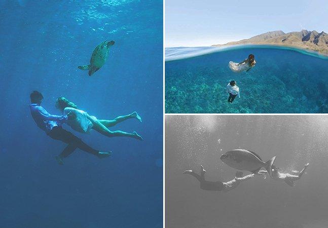 Dupla de fotógrafos viaja até ilha no Havaí para clicar incríveis fotos de casamento debaixo d'água