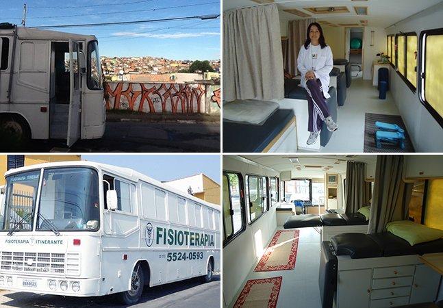 Fisioterapeuta cria clínica móvel dentro de um ônibus para atender pessoas de baixa renda