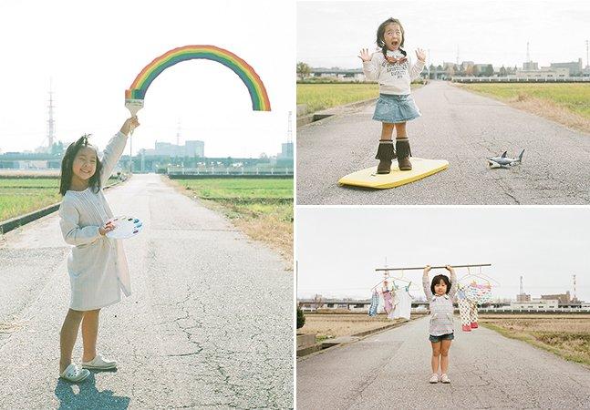 Pai usa estrada deserta para criar fotos divertidas de sua filha de 4 anos