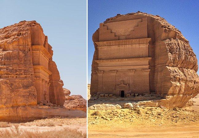 O fantástico túmulo esculpido em um única pedra na Arábia Saudita