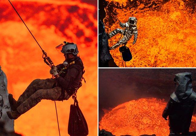 Homem desce de rapel pela cratera de um vulcão ativo e registra tudo em vídeo incrível