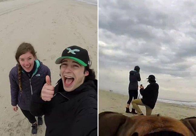 Cão usa câmera GoPro pra filmar pedido de casamento emocionante do seu dono