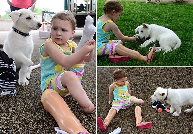 A adorável amizade entre uma garota que teve perna amputada e um cachorro que nasceu sem uma pata