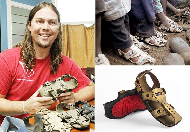 Homem cria sapatos ajustáveis que crescem até 5 tamanhos e prometem ajudar milhões de crianças